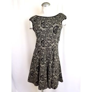 Maggy London Size 4 Black Taupe Fit Flare Dress